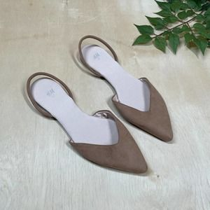 H&M Taupe Slingback Pointed Toe Faux Leather Flats